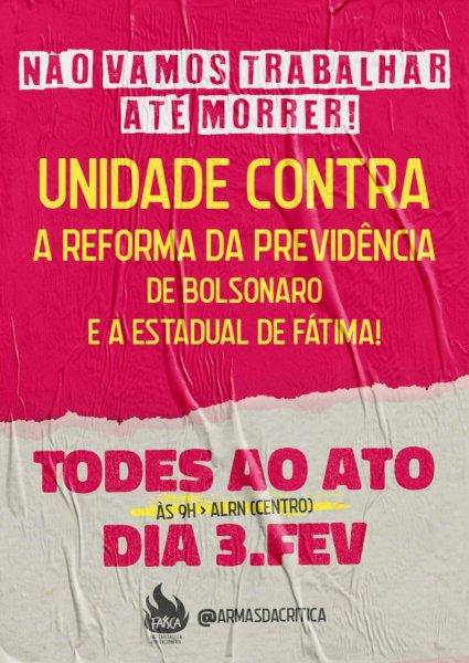 Armas da Crítica lança campanha pela unidade contra a reforma da previdência de Bolsonaro e Fátima
