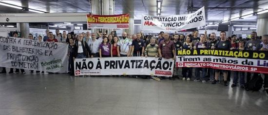 Formar um fundo de greve dos metroviários de SP para enfrentar a privatização
