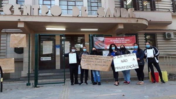 Trabalhadores do IMESF protestam contra demissões e cortes de Marchezan em meio à pandemia