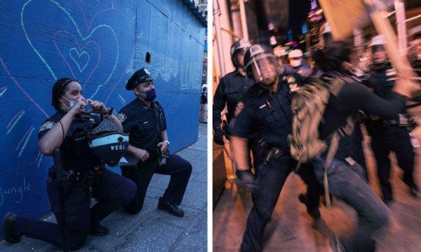 Não caia na propaganda policial! Eles se ajoelham e depois reprimem os milhares nas ruas