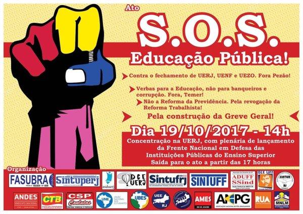 """Universidades do Rio convocam """"S.O.S Educação Pública"""" nesta quinta"""