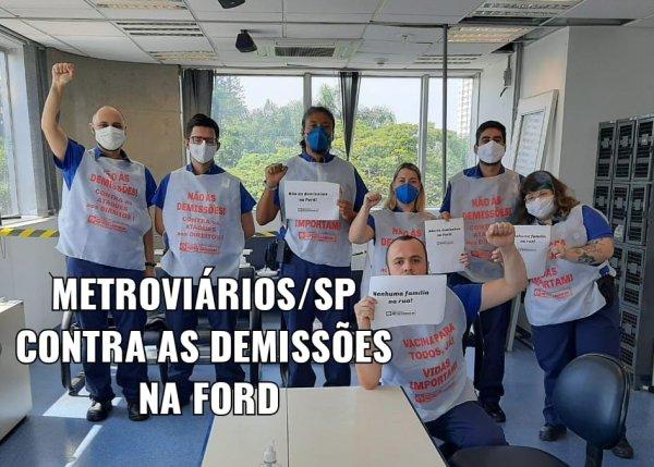 Metroviários/SP fazem campanha contra as demissões na Ford