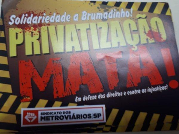 """Metroviários: """"Estamos com a população contra a privatização, para melhorar o transporte"""""""