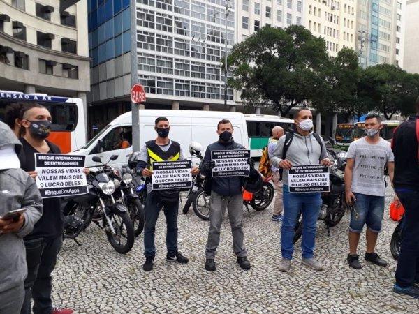 Entregadores fazem fortes manifestações em 2 pontos do Rio de Janeiro ao longo do dia