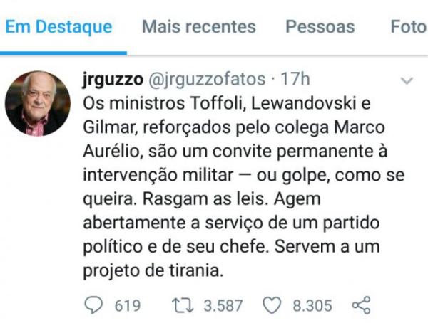 Editor do EXAME e colunista da Veja, é a favor de regime militar pela decisão de alguns ministros do STF.